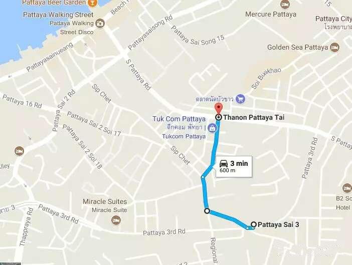 600米到著名的Tukcom商场和酒吧街Soi Bhukao